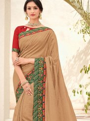 Beige Embroidered Trendy Saree