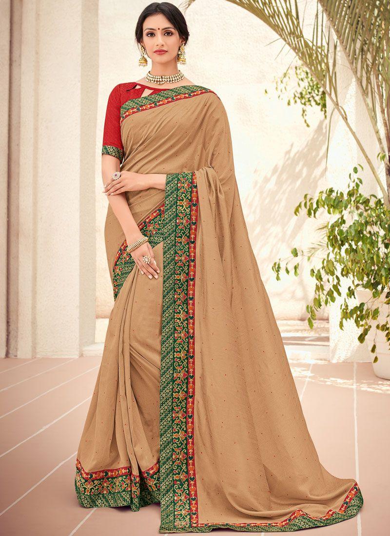 Beige Embroidered Trendy Saree
