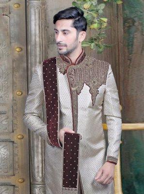 Beige Embroidered Wedding Sherwani