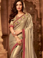 Beige Fancy Fabric Classic Saree