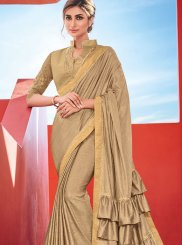 Beige Fancy Fabric Festival Saree