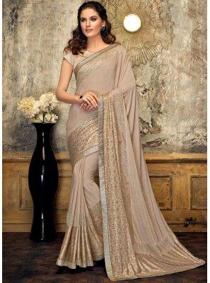 Beige Fancy Lycra Designer Saree