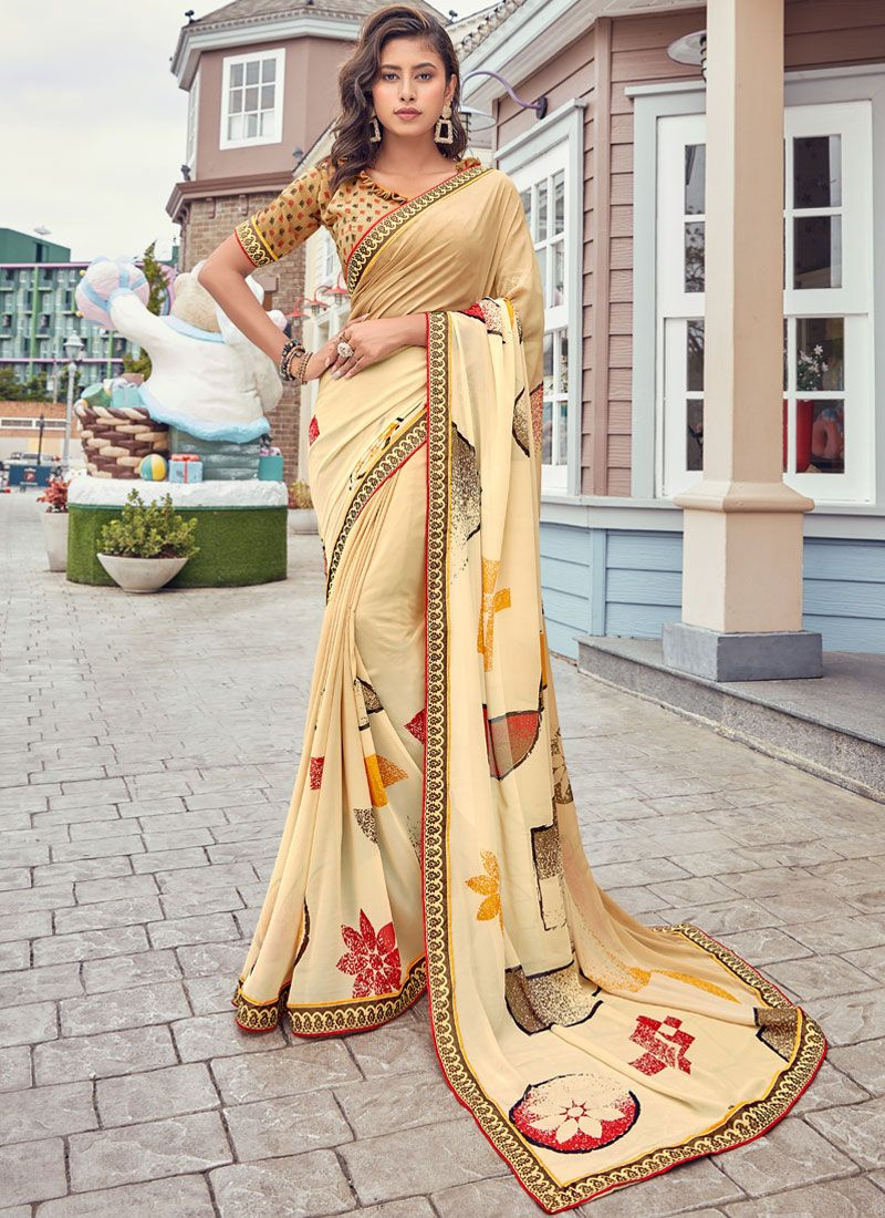 Beige Faux Georgette Casual Saree
