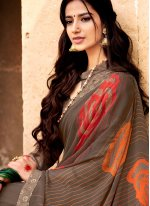 Beige Faux Georgette Printed Casual Saree