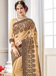 Beige Faux Georgette Saree