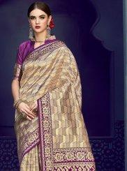 Beige Festival Art Silk Designer Traditional Saree