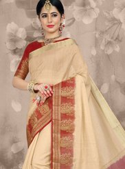 Beige Festival Linen Traditional Saree