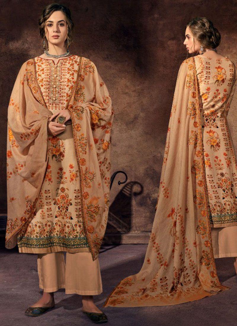 Beige Festival Satin Designer Palazzo Suit