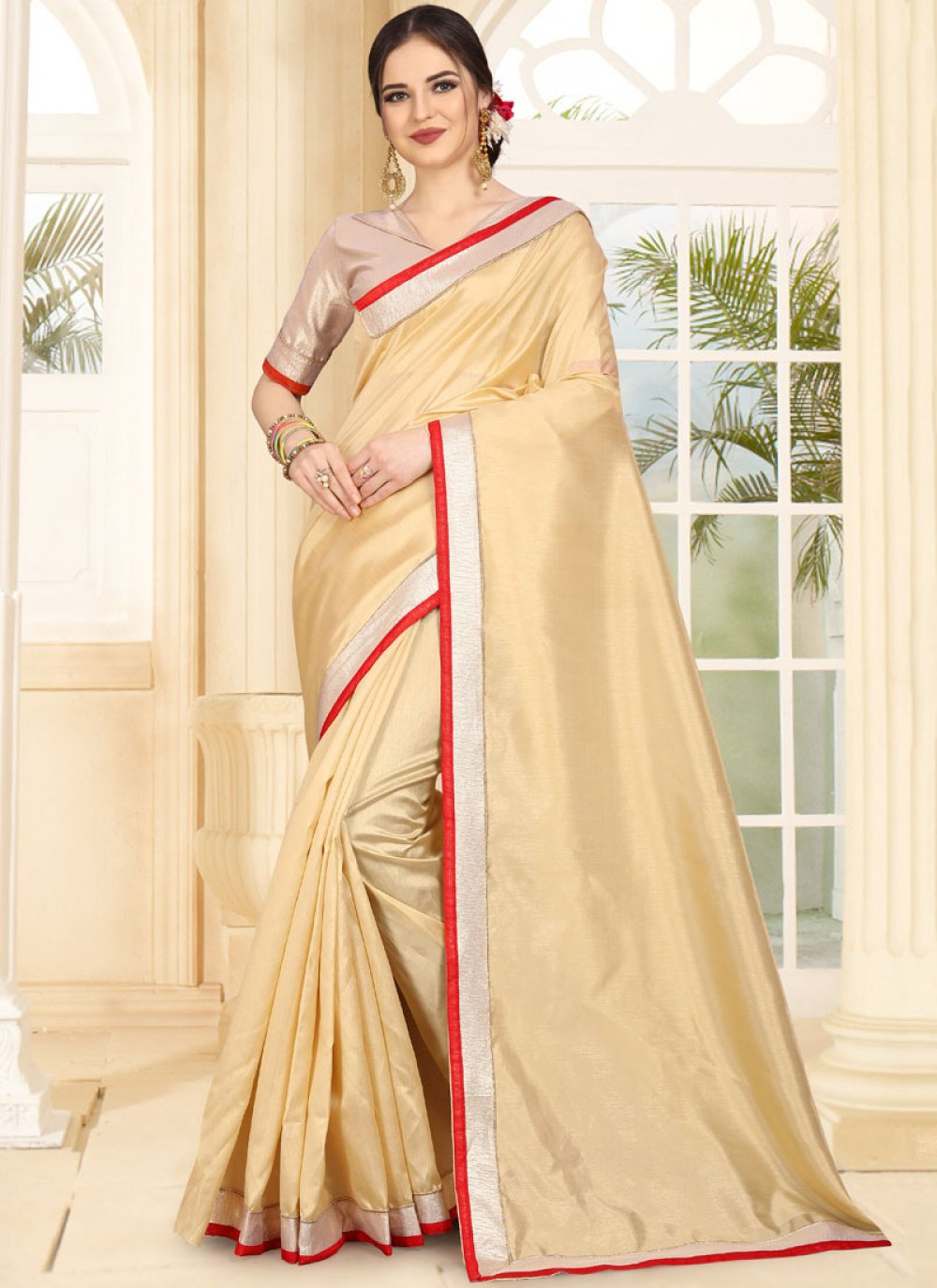 Beige Festival Traditional Saree