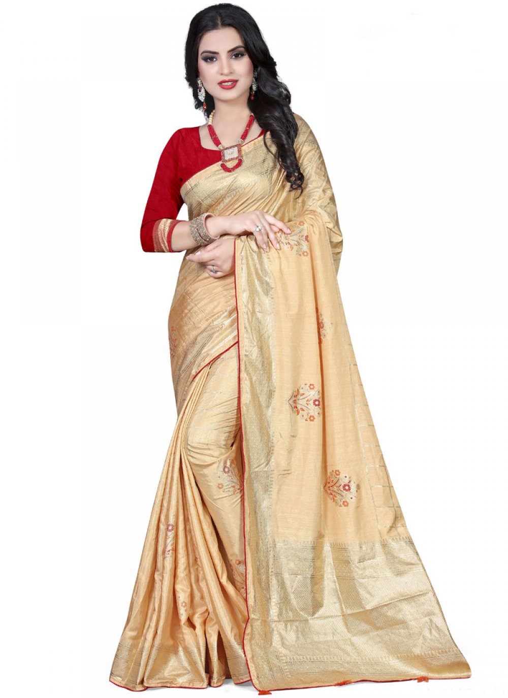 Beige Foil print Wedding Traditional Saree