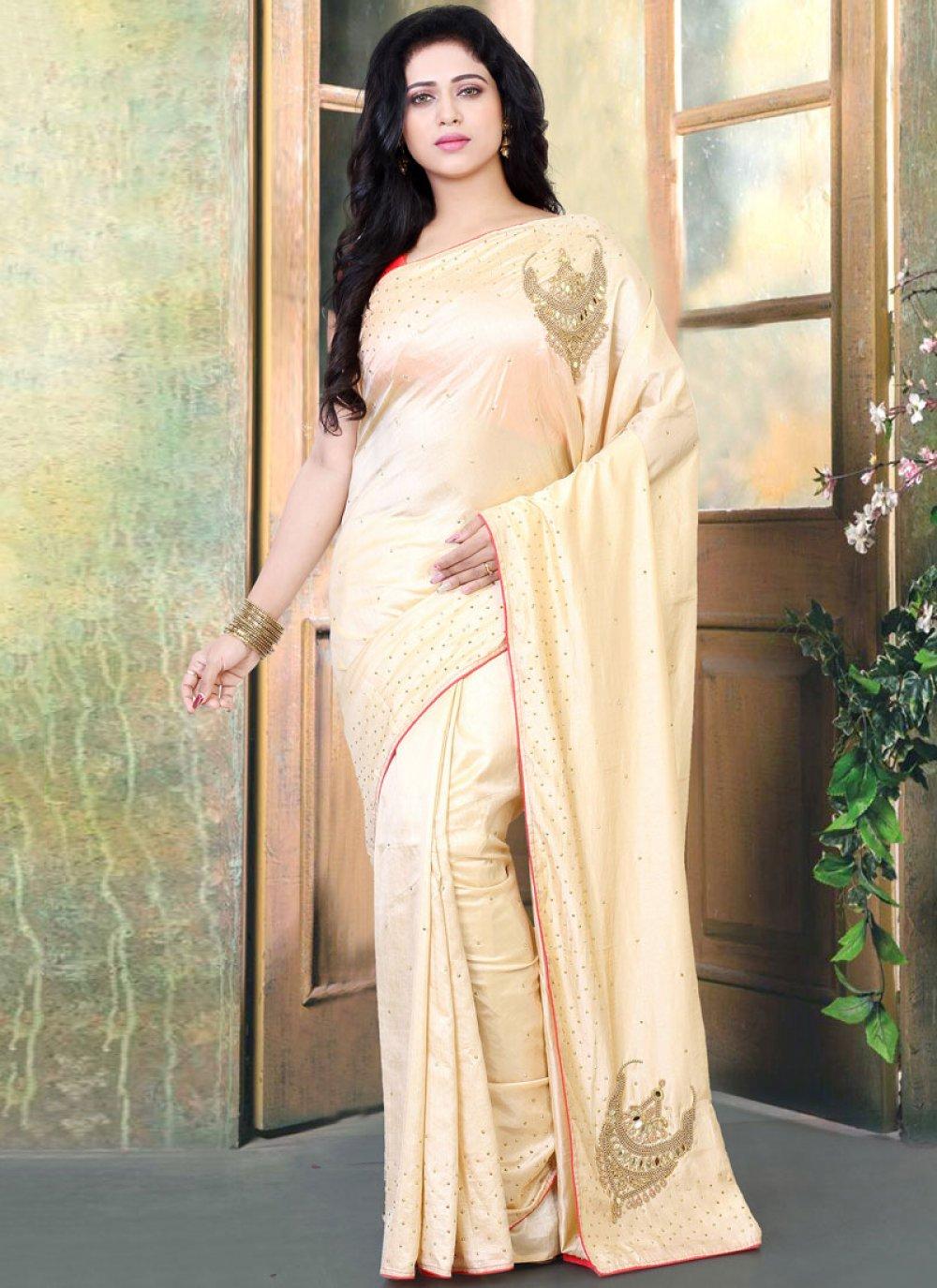 Beige Handwork Silk Designer Traditional Saree