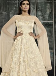 Beige Jacquard Trendy Gown