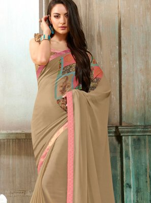Beige Mehndi Casual Saree