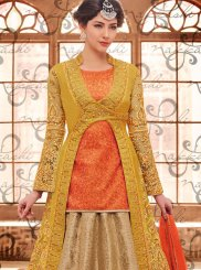 Beige, Mustard and Orange Long Choli Lehenga