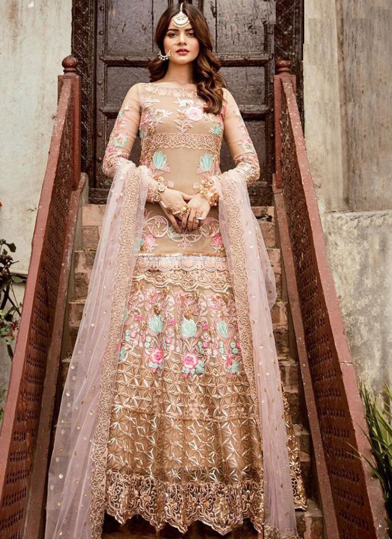 Beige Net Festival Floor Length Anarkali Suit
