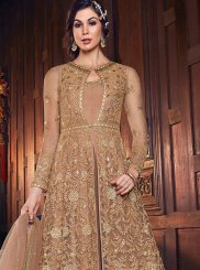 Beige Net Lace Floor Length Anarkali Suit