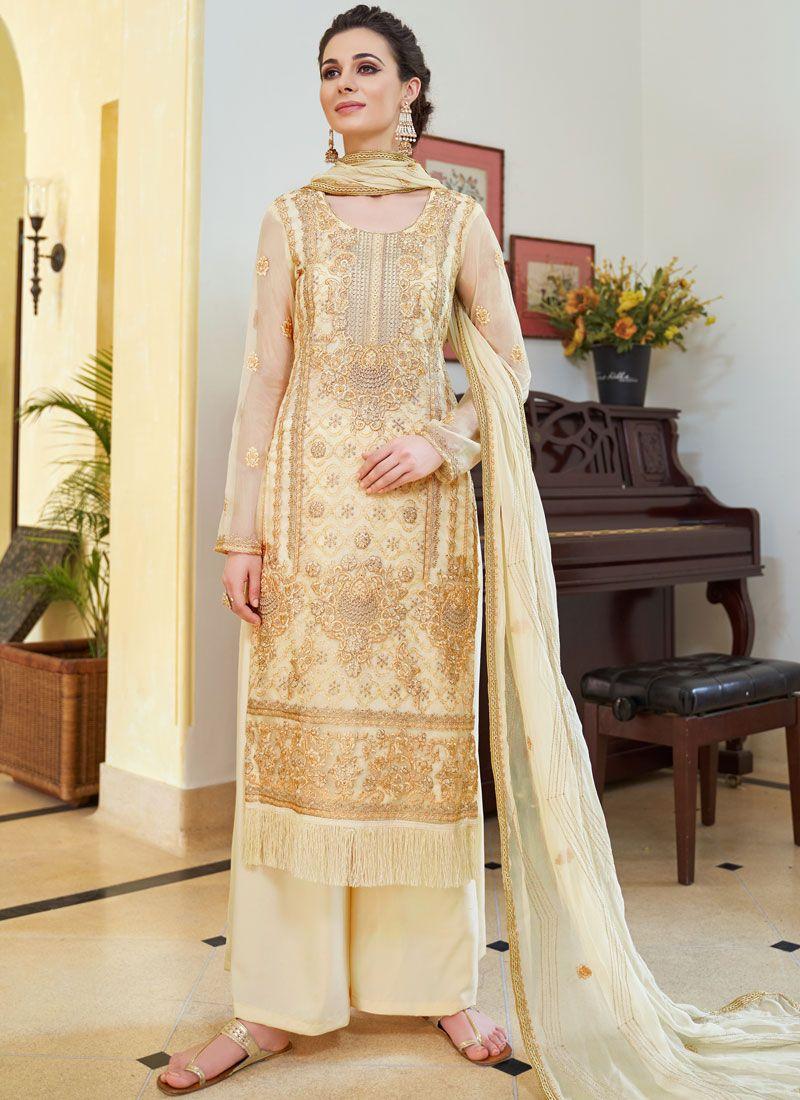 Beige Organza Designer Palazzo Salwar Suit