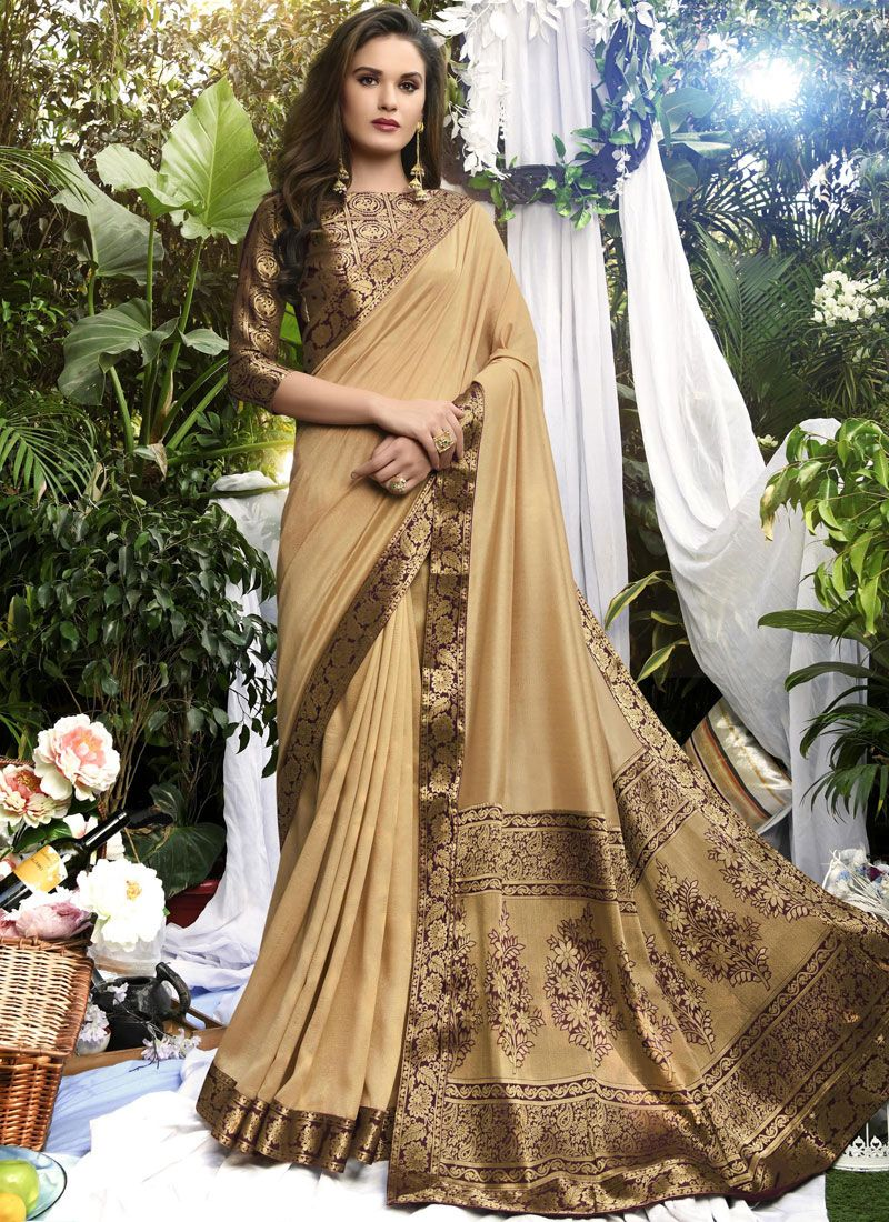 Beige Party Art Silk Traditional Designer Saree