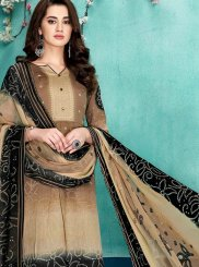 Beige Party Faux Chiffon Designer Salwar Suit