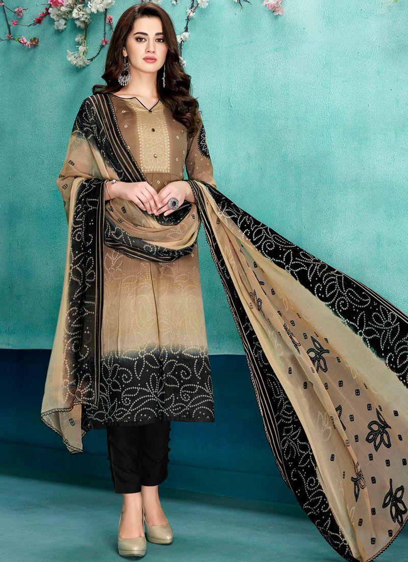 Beige Party Faux Chiffon Designer Salwar Suit
