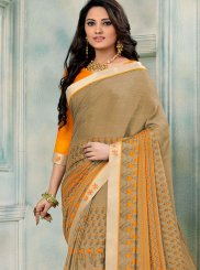 Beige Party Faux Chiffon Printed Saree