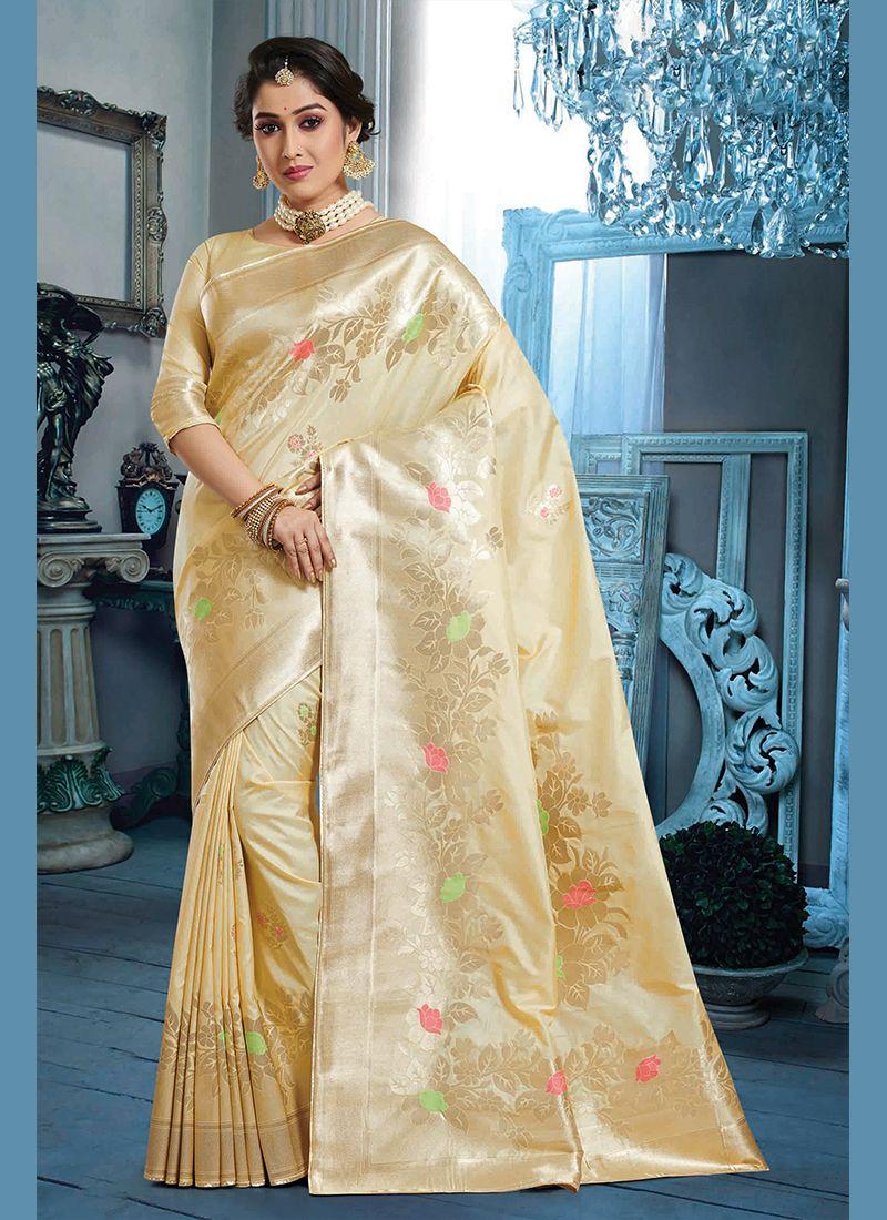 Beige Party Silk Saree