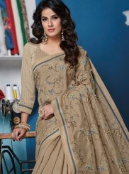 Beige Patch Border Ceremonial Designer Traditional Saree