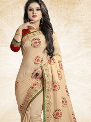 Beige Patch Border Designer Traditional Saree