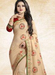 Beige Patch Border Designer Traditional Saree