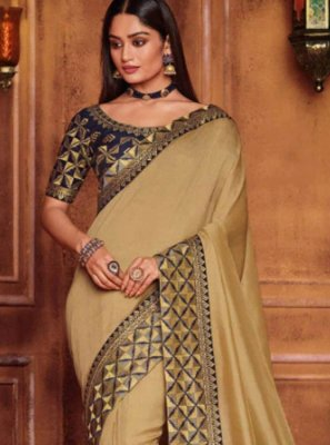 Beige Patch Border Fancy Fabric Classic Designer Saree