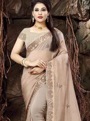 Beige Patch Border Fancy Fabric Traditional Saree