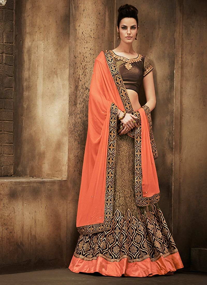 Beige Patch Border Work A Line Lehenga Choli