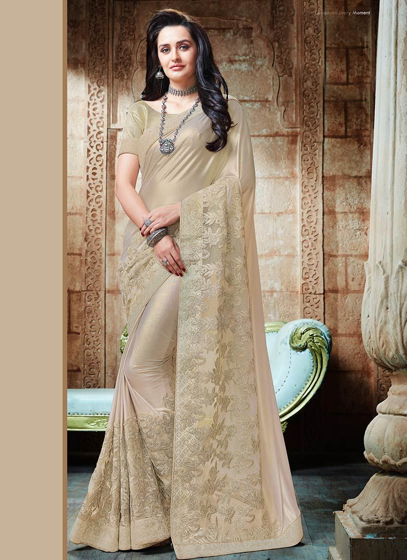 Beige Patch Border Work Shimmer Georgette Classic Saree