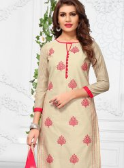 Beige Print Casual Churidar Suit