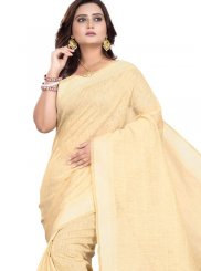 Beige Print Cotton Casual Saree
