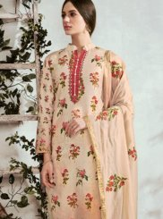 Beige Print Cotton Designer Suit