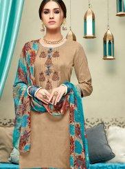Beige Print Punjabi Suit