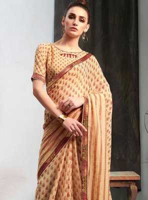 Beige Printed Casual Casual Saree
