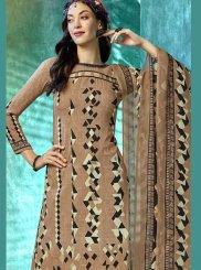 Beige Printed Casual Salwar Kameez
