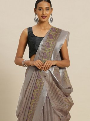 Beige Printed Casual Saree