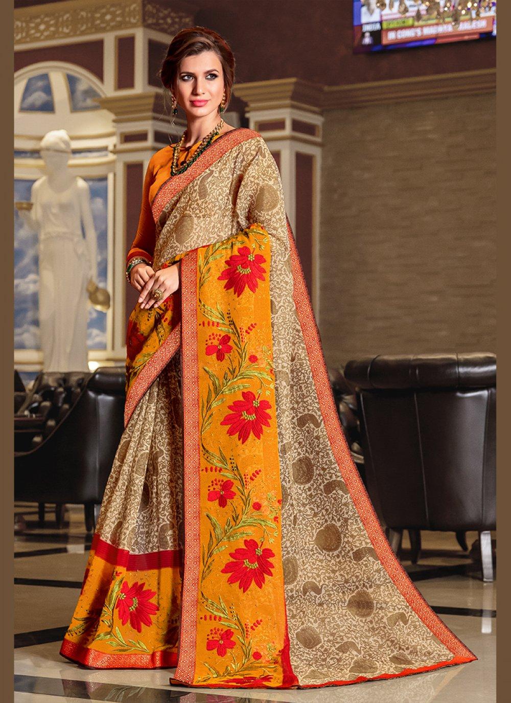 Beige Printed Ceremonial Designer Traditional Saree