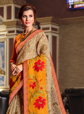Beige Printed Ceremonial Designer Traditional Saree