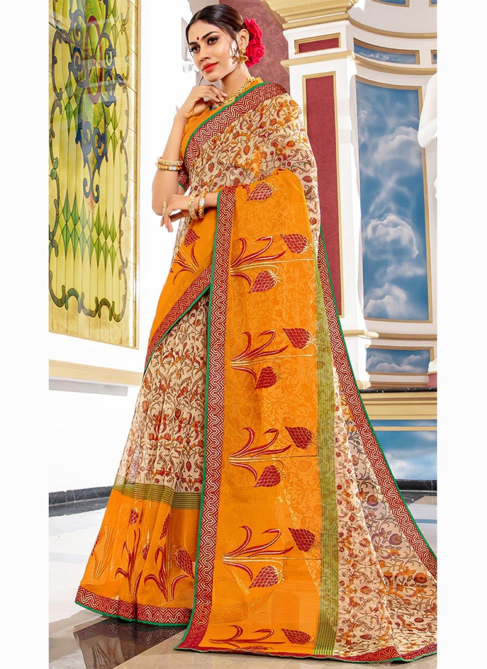 Beige Printed Designer Traditional Saree