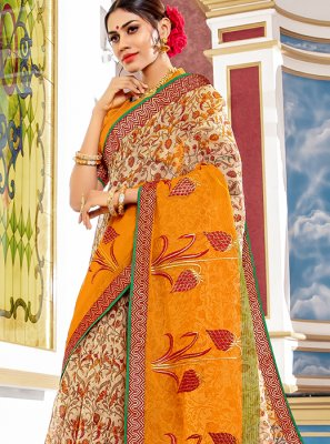 Beige Printed Designer Traditional Saree
