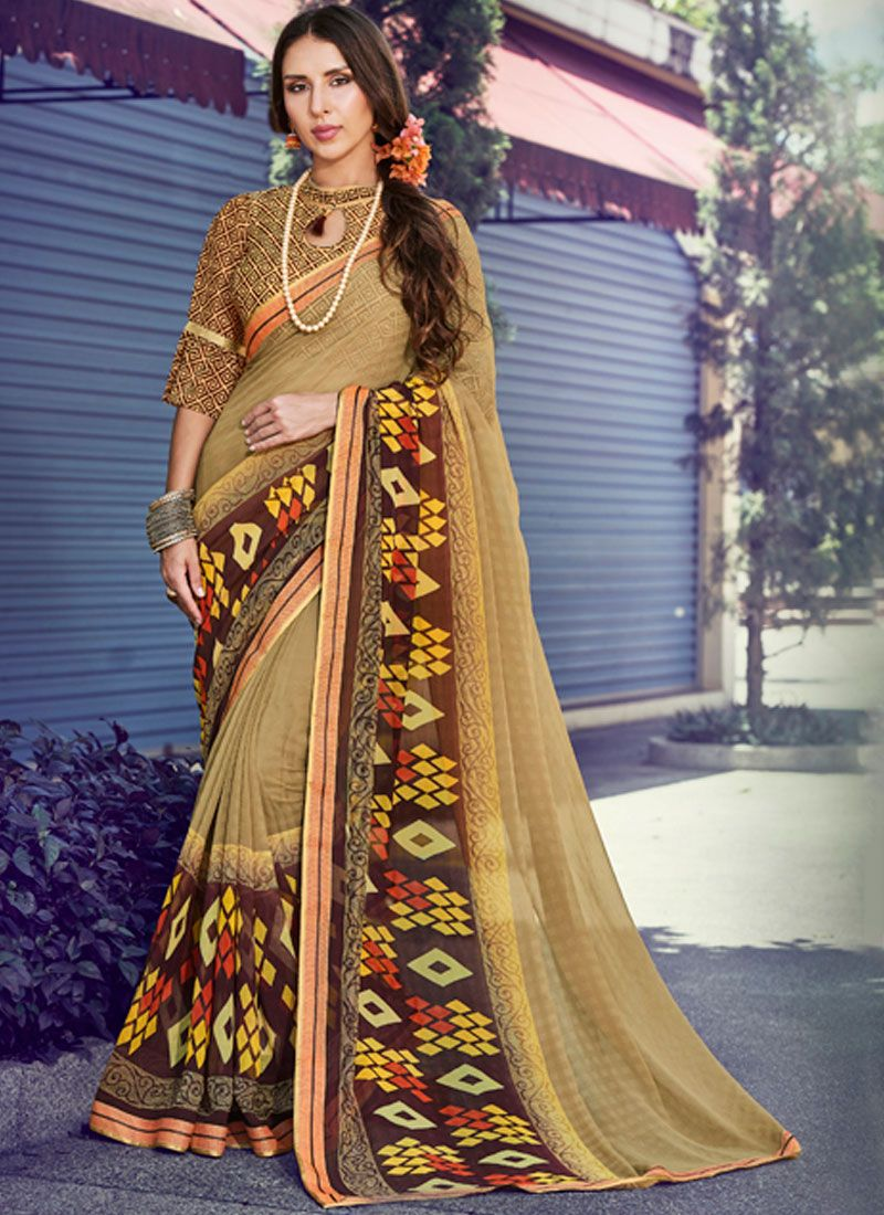 Beige Printed Faux Georgette Traditional Saree