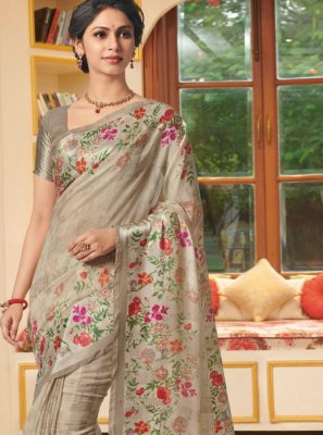 Beige Printed Party Classic Designer Saree