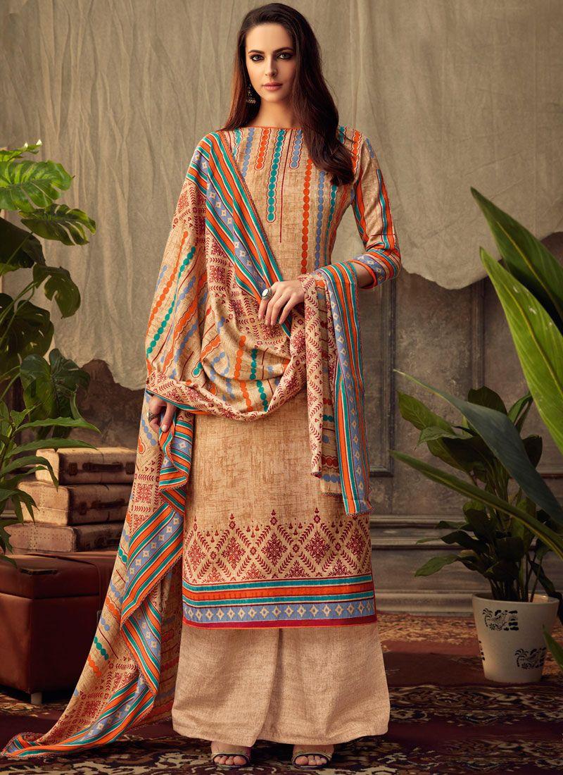 Beige Printed Pashmina Palazzo Salwar Suit