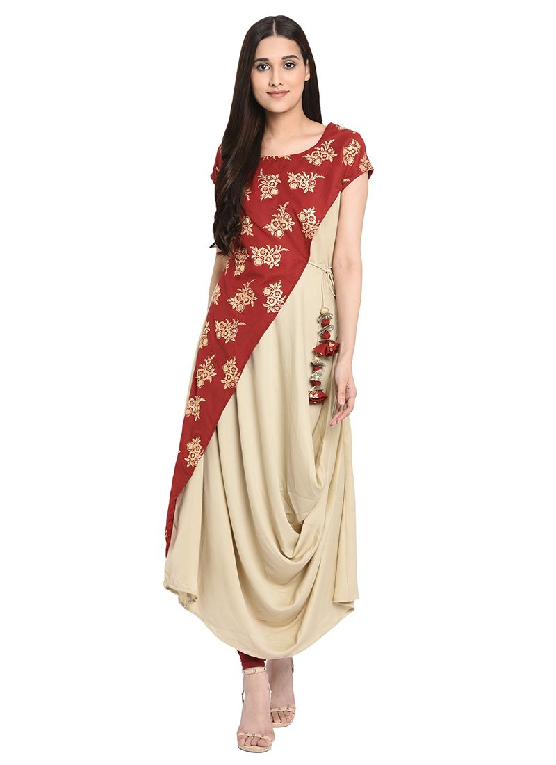 Beige Printed Polyester Party Wear Kurti