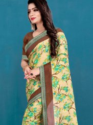 Beige Printed Silk Casual Saree