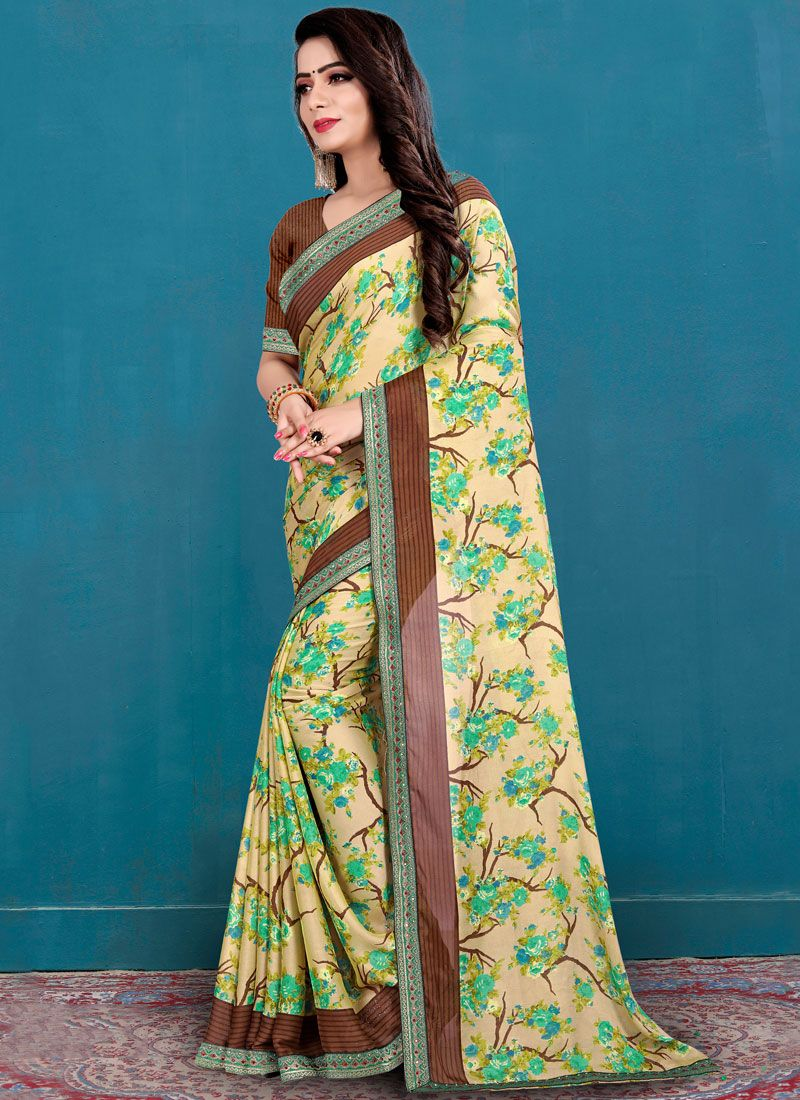 Beige Printed Silk Casual Saree